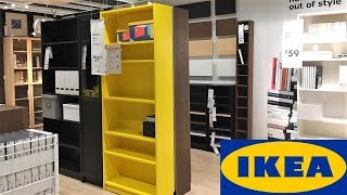 IKEA BOOKCASES BILLY BOOKCASE LIVING ROOM FURNITURE - SHOP WITH ME SHOPPING STORE WALK THROUGH 4K