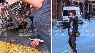 video: Sydney stabbing: One woman dead as three British men praised for restraining knife-wielding attacker