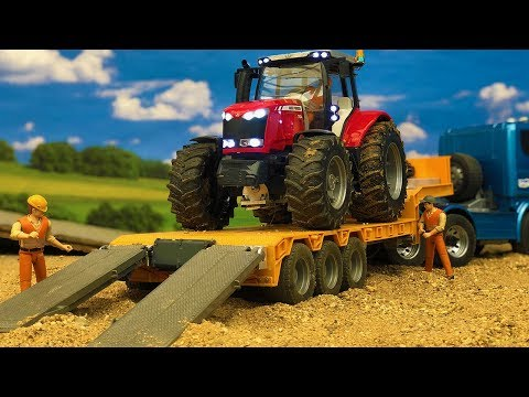 Amazing Tractor Truck Transport, Construction Site Bruder toys Action!