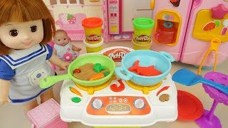 Baby Doli kitchen play doh cooking baby doll toy stories  - ToyPudding