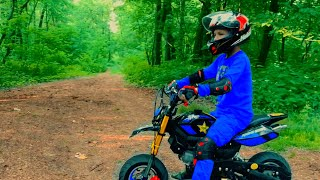 GRANNY from game and Funny Den on Pocket bike for kids in forest! Horror in real life