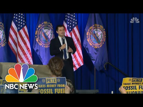 Singing Protesters Interrupt Pete Buttigieg At New Hampshire Town Hall | NBC News