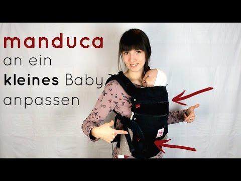 Manduca OHNE Neugeboreneneinsatz an ein kleines Baby anpassen | Babytrage