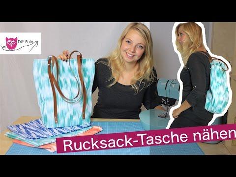 Rucksack-Tasche mit Lederriemen nähen – DIY Eule #RucksackTascheRamona