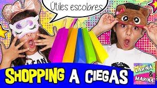 🛍️ ¡¡SHOPPING A CIEGAS!! 😱 TAG DEL SUPERMERCADO 💜 Comprando  ÚTILES ESCOLARES Con Ojos Tapados
