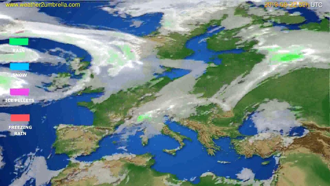 Precipitation forecast Europe // modelrun: 12h UTC 2019-08-19