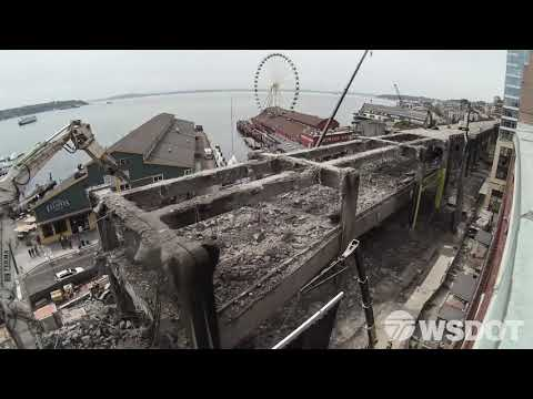 Alaskan Way Viaduct demolition as seen from above