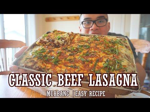 QT| Classic Beef Lasagna Recipe | MUKBANG