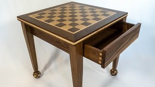 End Table with Removable Chess Board Top | with Spherical Chess Board Feet