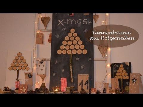Weihnachtsbäume aus Holzscheiben - Kreativ und pflegeleicht