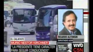 C5N MURIÓ NÉSTOR KIRCHNER HABLA RICARDO ALFONSÍN