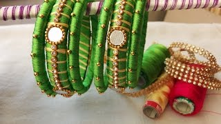 making of two color bangles with mirrors and gold drop chain   DIY