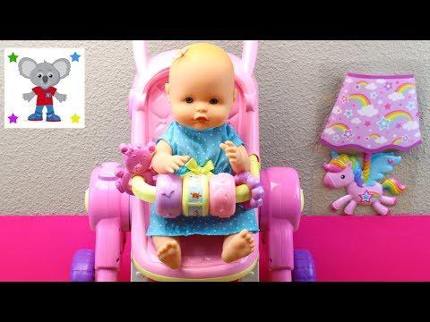 Silla de paseo Interactiva para la Muñeca Bebé | Cochecito de paseo, trona y cuna para la bebé