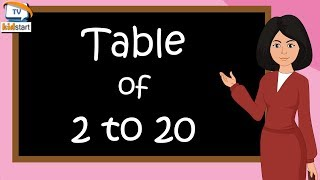 Table of 2 to 20 | multiplication table of 2 to 20 | rhythmic table of two to twenty | kidstart tv