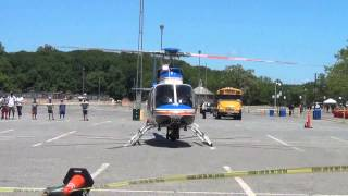 Police helicopter taking off for an emergency
