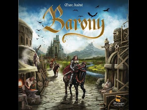 The Purge: # 1163 Barony: An abstract land of two knights defeating one and a building of our cities for Victory Points
