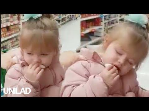 הילדה העייפה שמככבת בסרטון הזה לא מצליחה להשאיר את העיניים פקוחות בזמן קניות בסופר