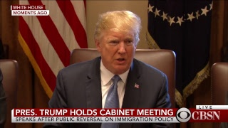 President Trump holds Cabinet meeting at White House, Melania Trump visits detention center