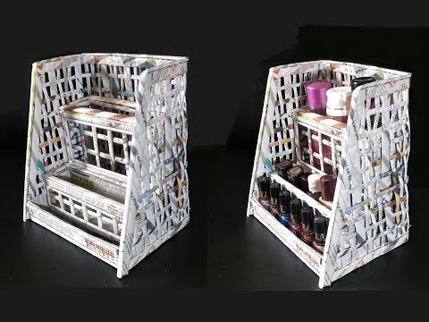 How To Make A Cosmetic Organiser From Newspaper | Best out of waste | Desk organizer using newspaper