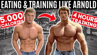 Bodybuilder tries Arnold Schwarzenegger's DIET & WORKOUT for 24 hours... *5,000 CALORIES*