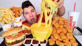 Double Cheeseburger & Nuggets With Cheese Sauce • MUKBANG