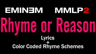 Eminem - Rhyme or Reason - [Lyric Video & Colored Rhyme Scheme]