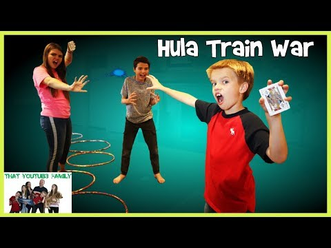 PLAYGROUND WARS -Hulu Hoop Showdown Train War Game! / That YouTub3 Family I The Adventurers
