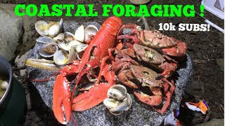 COASTAL FORAGING, Lobster, Clams , Cook Up In A German Bunker ! 10k Subscriber Special