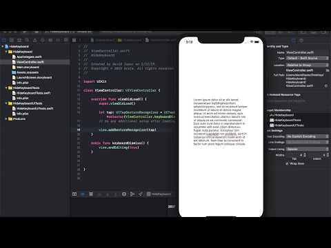 How To Hide The Keyboard in iOS - Xcode 9 1 (Swift 4