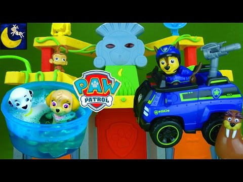 Funny Toy Stories for Kids with Paw Patrol Toys Jungle Temple Playset Tracker Marshall Chase Toys!