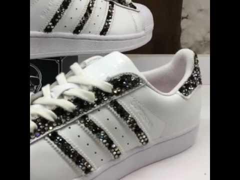 Weiße Adidas Superstar Schuhe für Frauen mit Diamanten