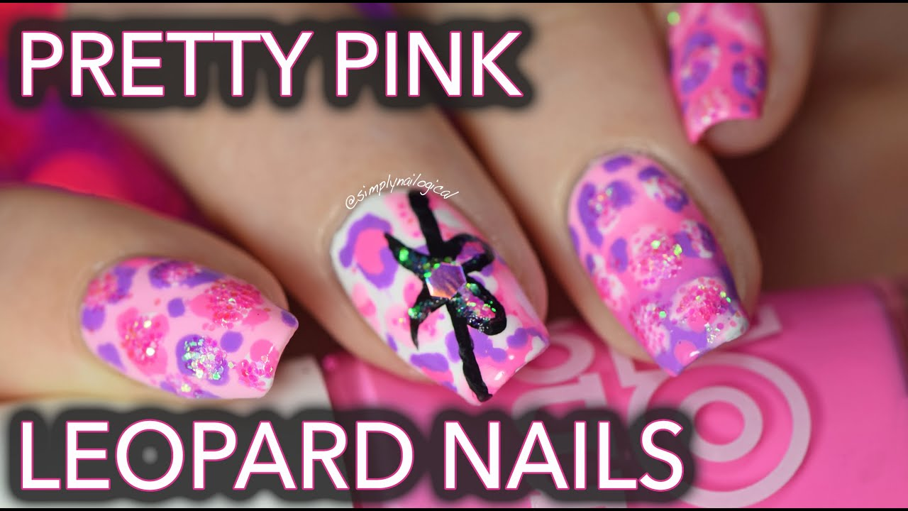 Pretty pink leopard nails - with glitter! thumbnail