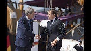 Trieste, Gentiloni accoglie il Presidente francese Macron
