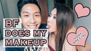 BOYFRIEND DOES MY MAKE UP | Mongabong