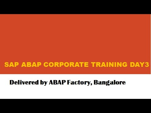 SAP ABAP Corporate Training Day3-Part1 - YouTube