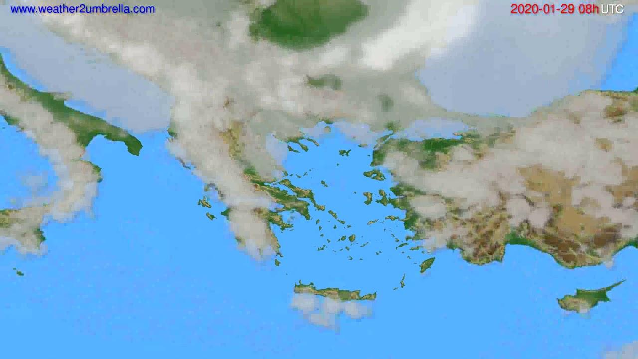 Cloud forecast Greece // modelrun: 12h UTC 2020-01-28