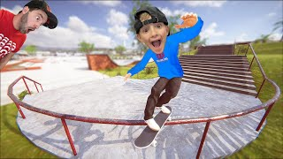 FATHER SON SKATEBOARDING VIDEO GAME 4! / 5,000 Foot Grind!