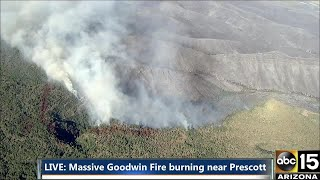 RAW: Air15 over scene of 21,000 acre Goodwin Fire Wednesday night