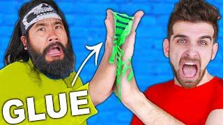 EMBARRASSING! We're STUCK HOLDING HANDS for 24 Hours in Daniel vs Melvin Glued Together Challenge!