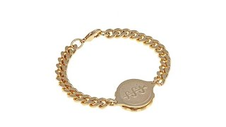 SOS America Emergency Medical ID Bracelet  Goldtone