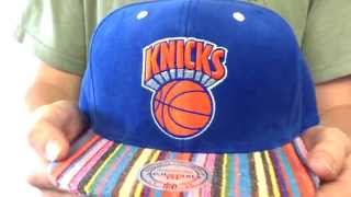 Knicks 'NATIVE-STRIPE SNAPBACK' Royal Hat by Mitchell & Ness