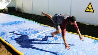 DONT Slip on the Slippery Platform!! (GIANT SLIP N' SLIDE CHALLENGE)