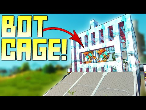 I Built a Haybot Cage That Keeps Them Trapped Inside!  - Scrap Mechanic Survival Mode [SMS 32]