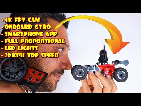 LOW COST 1/24 Mini FPV RC Car with 4K FPV Camera, Gyro, Led Lights & Smartphone App