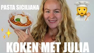 KOKEN MET JULIA👩🏼🍳PASTA SICILIANA 🍝🍴 | ThingsJuliaLoves