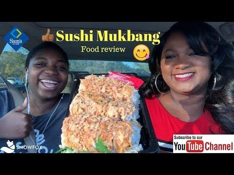 SUSHI MUKBANG | SAM'S CLUB SUSHI REVIEW | SNOWFOX SUSHI REVIEW | CAR MUKBANG