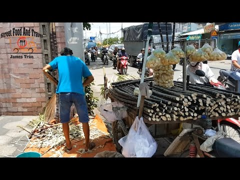 Amazing sugarcane cutting skills - Vietnamese street food