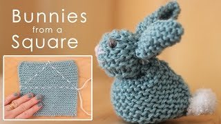 How to Knit a BUNNY from a SQUARE | Easy for Beginning Knitters
