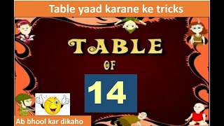 Easy maths tricks of Table of 14 Table 14 in 5 second  multiplication table of 14