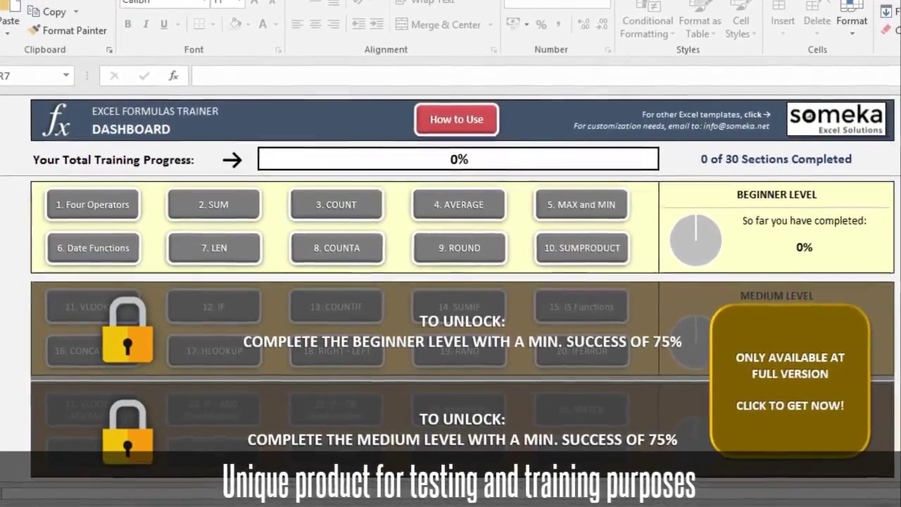 Excel Formulas Training Kit - Someka Excel Template Video